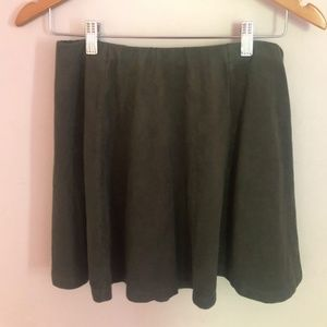 Forever21 Army Green Suede Skater Skirt
